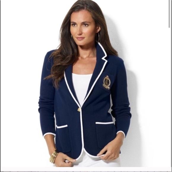 Ralph Lauren white and navy crest knit blazer